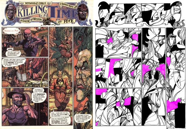 On the left is a page from 'Indigo Prime: Killing Time', illustrated by Chris Weston, and on the right is a page created as prep for the final pages.